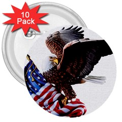 Independence Day United States 3  Buttons (10 pack)