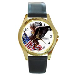 Independence Day United States Round Gold Metal Watch