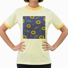 Floral Flower Rose Sunflower Star Leaf Pink Green Blue Yelllow Women s Fitted Ringer T-Shirts