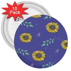 Floral Flower Rose Sunflower Star Leaf Pink Green Blue Yelllow 3  Buttons (10 pack)