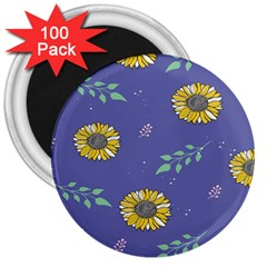 Floral Flower Rose Sunflower Star Leaf Pink Green Blue Yelllow 3  Magnets (100 pack)