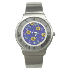 Floral Flower Rose Sunflower Star Leaf Pink Green Blue Yelllow Stainless Steel Watch