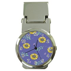Floral Flower Rose Sunflower Star Leaf Pink Green Blue Yelllow Money Clip Watches