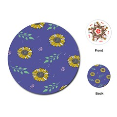 Floral Flower Rose Sunflower Star Leaf Pink Green Blue Yelllow Playing Cards (Round)