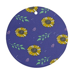 Floral Flower Rose Sunflower Star Leaf Pink Green Blue Yelllow Round Ornament (Two Sides)