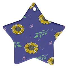 Floral Flower Rose Sunflower Star Leaf Pink Green Blue Yelllow Star Ornament (Two Sides)