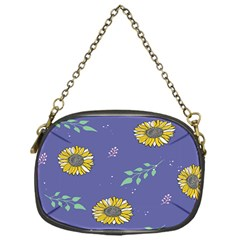 Floral Flower Rose Sunflower Star Leaf Pink Green Blue Yelllow Chain Purses (One Side)