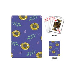 Floral Flower Rose Sunflower Star Leaf Pink Green Blue Yelllow Playing Cards (Mini)