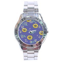 Floral Flower Rose Sunflower Star Leaf Pink Green Blue Yelllow Stainless Steel Analogue Watch