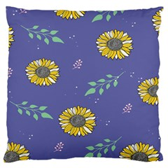 Floral Flower Rose Sunflower Star Leaf Pink Green Blue Yelllow Large Cushion Case (Two Sides)