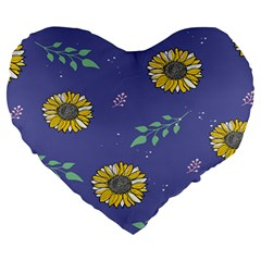 Floral Flower Rose Sunflower Star Leaf Pink Green Blue Yelllow Large 19  Premium Heart Shape Cushions