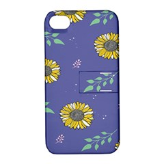 Floral Flower Rose Sunflower Star Leaf Pink Green Blue Yelllow Apple iPhone 4/4S Hardshell Case with Stand