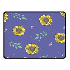Floral Flower Rose Sunflower Star Leaf Pink Green Blue Yelllow Double Sided Fleece Blanket (Small)