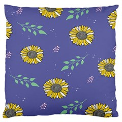 Floral Flower Rose Sunflower Star Leaf Pink Green Blue Yelllow Large Flano Cushion Case (one Side)