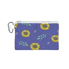 Floral Flower Rose Sunflower Star Leaf Pink Green Blue Yelllow Canvas Cosmetic Bag (S)