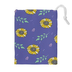 Floral Flower Rose Sunflower Star Leaf Pink Green Blue Yelllow Drawstring Pouches (Extra Large)