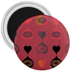 Heart Love Fan Circle Pink Blue Black Orange 3  Magnets