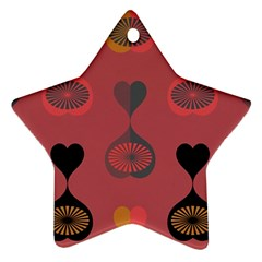 Heart Love Fan Circle Pink Blue Black Orange Star Ornament (Two Sides)