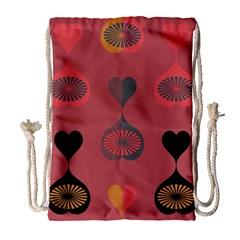 Heart Love Fan Circle Pink Blue Black Orange Drawstring Bag (large)