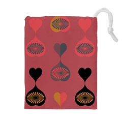 Heart Love Fan Circle Pink Blue Black Orange Drawstring Pouches (Extra Large)