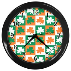 Ireland Leaf Vegetables Green Orange White Wall Clocks (black)