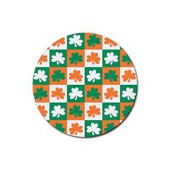Ireland Leaf Vegetables Green Orange White Rubber Round Coaster (4 pack)