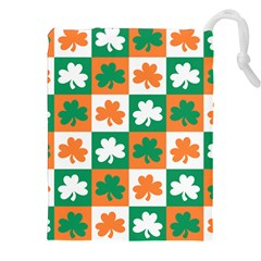 Ireland Leaf Vegetables Green Orange White Drawstring Pouches (XXL)