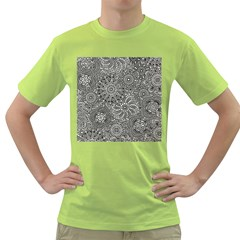 Flower Floral Rose Sunflower Black White Green T-Shirt