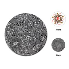 Flower Floral Rose Sunflower Black White Playing Cards (Round)