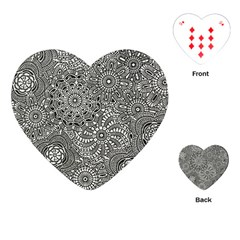 Flower Floral Rose Sunflower Black White Playing Cards (heart)