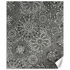 Flower Floral Rose Sunflower Black White Canvas 8  x 10