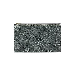 Flower Floral Rose Sunflower Black White Cosmetic Bag (Small)
