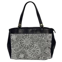 Flower Floral Rose Sunflower Black White Office Handbags (2 Sides)