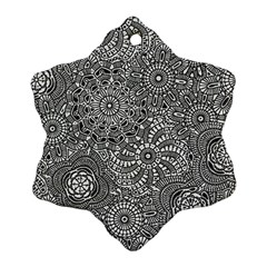 Flower Floral Rose Sunflower Black White Snowflake Ornament (Two Sides)