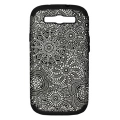 Flower Floral Rose Sunflower Black White Samsung Galaxy S III Hardshell Case (PC+Silicone)