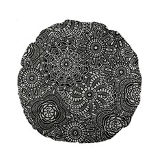 Flower Floral Rose Sunflower Black White Standard 15  Premium Round Cushions