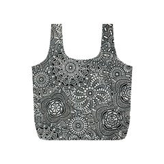 Flower Floral Rose Sunflower Black White Full Print Recycle Bags (S)
