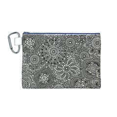 Flower Floral Rose Sunflower Black White Canvas Cosmetic Bag (M)