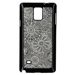Flower Floral Rose Sunflower Black White Samsung Galaxy Note 4 Case (Black)