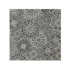 Flower Floral Rose Sunflower Black White Small Satin Scarf (Square)