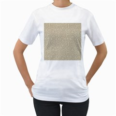 Leaf Grey Frame Women s T-Shirt (White) (Two Sided)