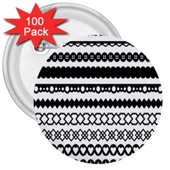 Love Heart Triangle Circle Black White 3  Buttons (100 Pack)