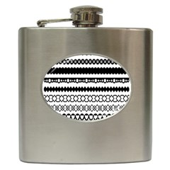 Love Heart Triangle Circle Black White Hip Flask (6 Oz)