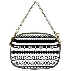 Love Heart Triangle Circle Black White Chain Purses (Two Sides)