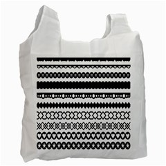Love Heart Triangle Circle Black White Recycle Bag (Two Side)