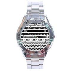 Love Heart Triangle Circle Black White Stainless Steel Analogue Watch
