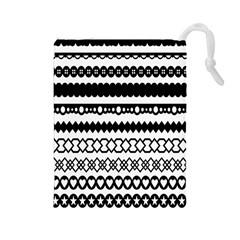 Love Heart Triangle Circle Black White Drawstring Pouches (Large)