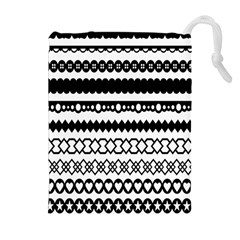 Love Heart Triangle Circle Black White Drawstring Pouches (Extra Large)