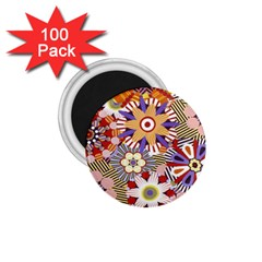 Flower Floral Sunflower Rainbow Frame 1.75  Magnets (100 pack)