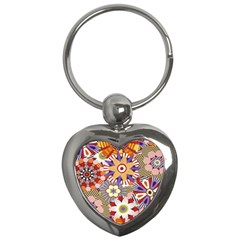 Flower Floral Sunflower Rainbow Frame Key Chains (Heart)